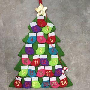 NEW Advent Calendar Multicolor Stockings Xmas Tree